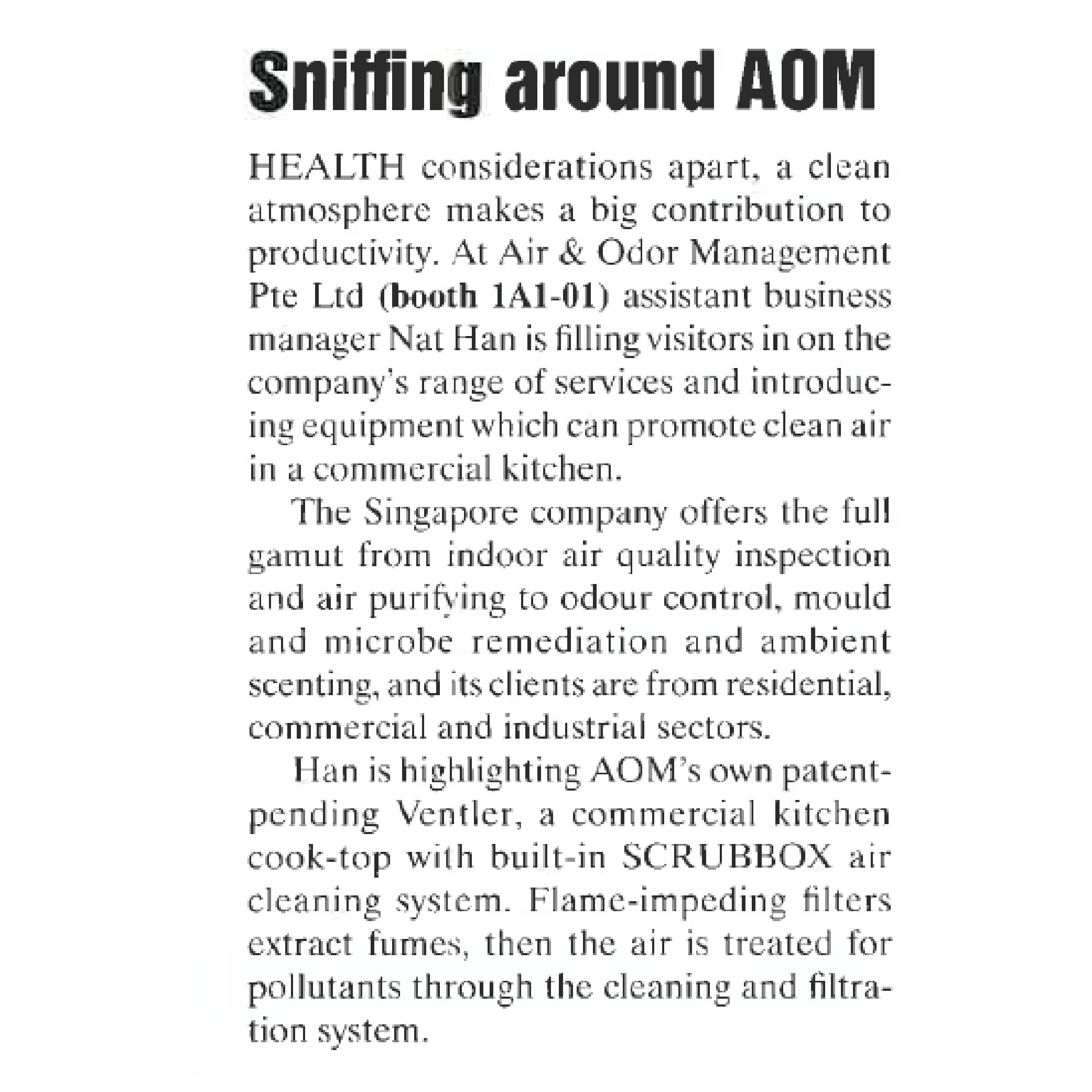 Article about AOM Air and Odor Management duting Food and Hotel Asia 2016