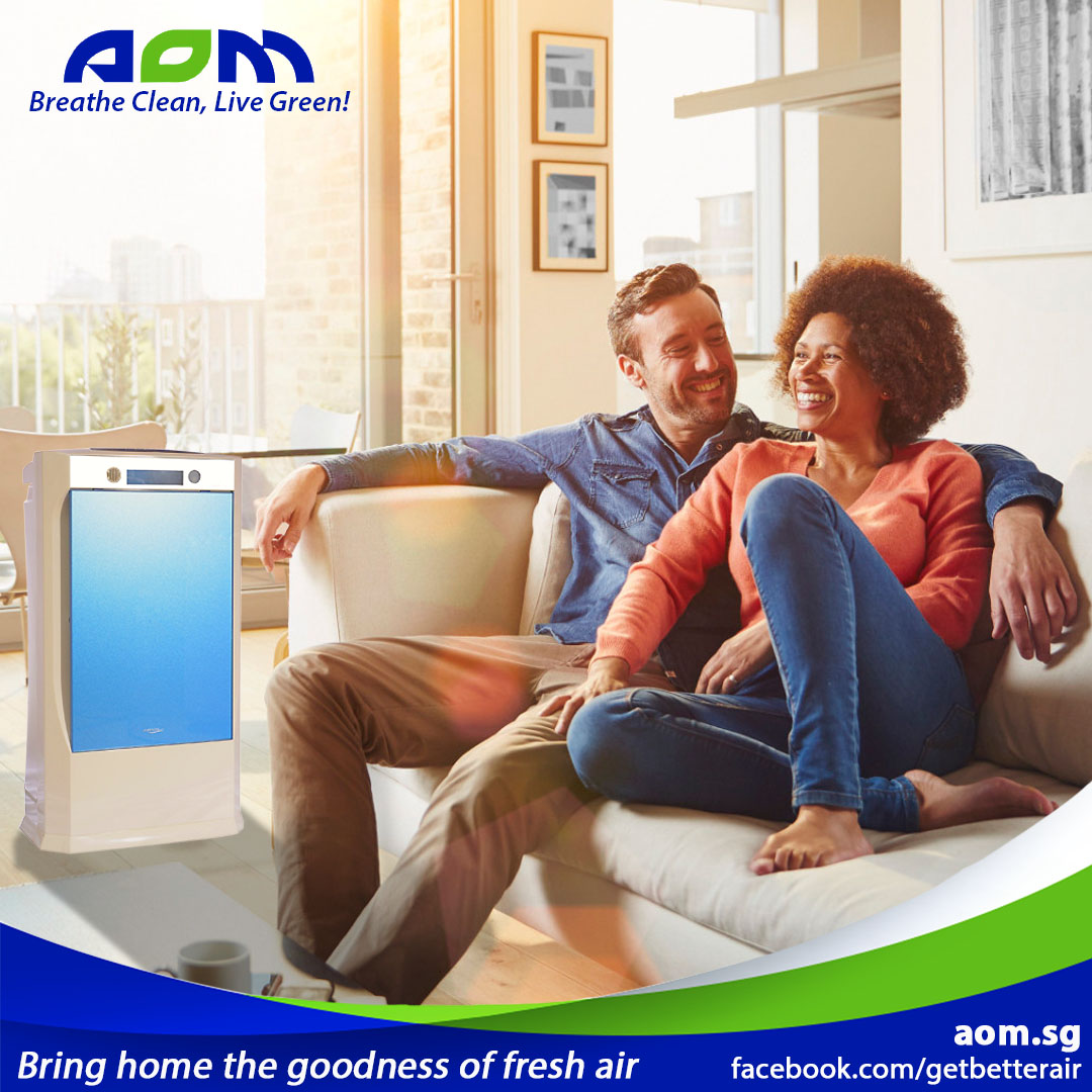 Couple enjoying fresh air with AIRION Artificial Intelligence Air Purifier